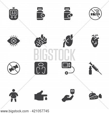 Diabetes Treatment Vector Icons Set, Modern Solid Symbol Collection, Filled Style Pictogram Pack. Si