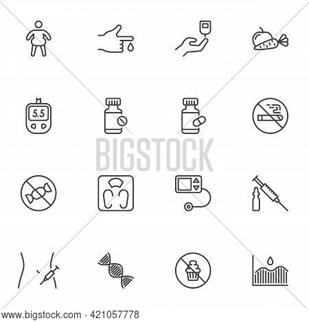 Diabetes Related Line Icons Set, Outline Vector Symbol Collection, Linear Style Pictogram Pack. Sign