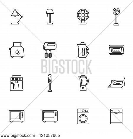 Household Devices Line Icons Set, Outline Vector Symbol Collection, Linear Style Pictogram Pack. Sig