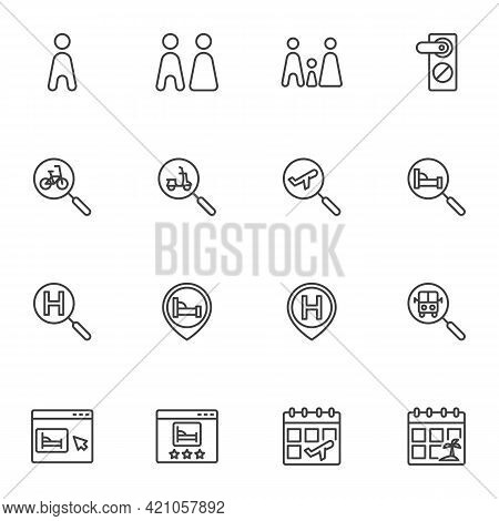 Hotel Booking Line Icons Set, Outline Vector Symbol Collection, Linear Style Pictogram Pack. Signs,