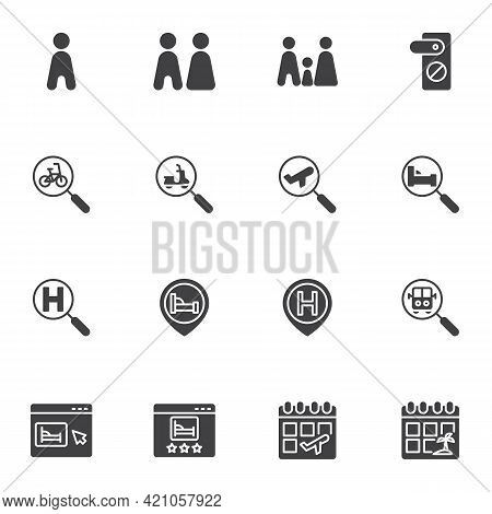 Hotel Booking Vector Icons Set, Modern Solid Symbol Collection, Filled Style Pictogram Pack. Signs,