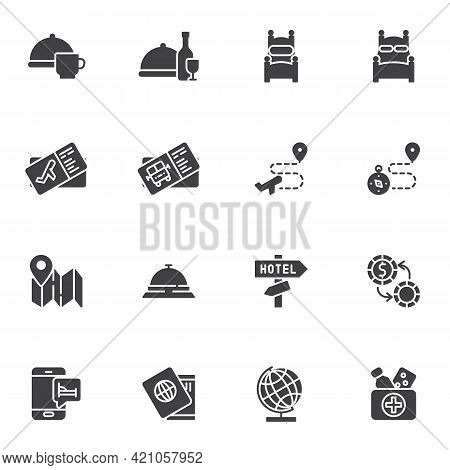 Hotel Travel Service Vector Icons Set, Modern Solid Symbol Collection, Filled Style Pictogram Pack.