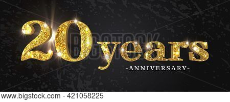 20 Years Anniversary Vector Icon, Symbol, Logo. Graphic Background Or Card With Golden Glitter For 2