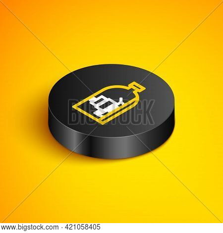 Isometric Line Glass Bottle With Ship Inside Icon Isolated On Yellow Background. Miniature Model Of