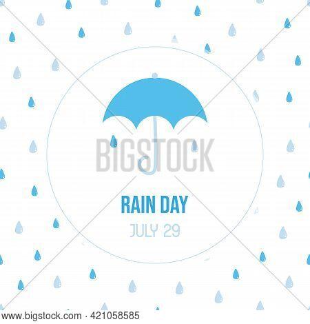 Rain Day Vector Cartoon Style Greeting Card, Illustration With Umbrella And Rain, Water Drops Seamle