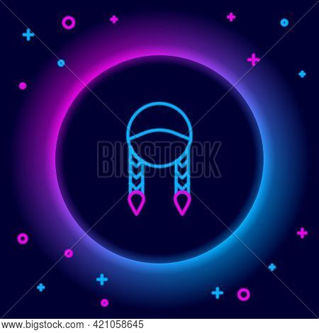 Glowing Neon Line Braid Icon Isolated On Black Background. Colorful Outline Concept. Vector