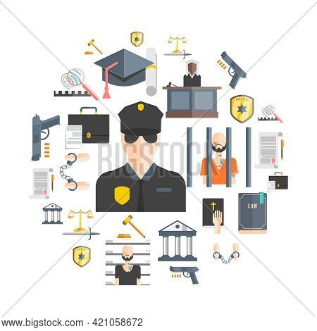 Justice And Punishment Concept With Court Judges And Police Flat Vector Illustration