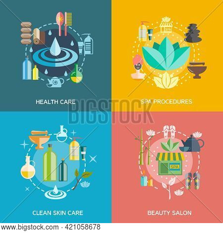 Spa Icons Set With Health Care Spa Procedures Skin Care And Beauty Salon Symbols  Flat Isolated Vect