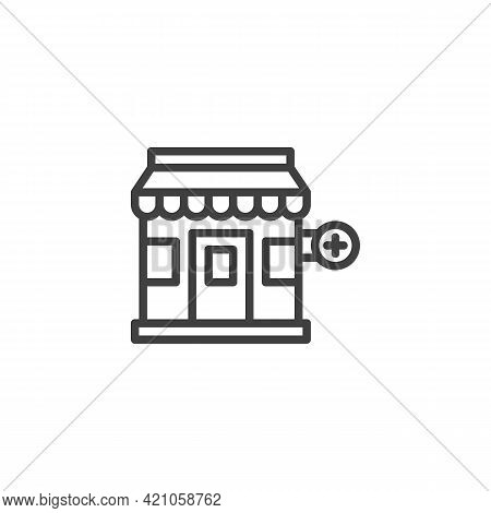 Drugstore Building Line Icon. Linear Style Sign For Mobile Concept And Web Design. Medical Pharmacy