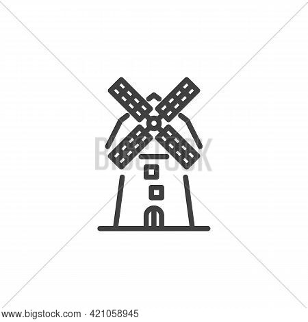 Windmill Line Icon. Linear Style Sign For Mobile Concept And Web Design. Farm Mill Outline Vector Ic
