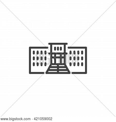 School, Academy Line Icon. Linear Style Sign For Mobile Concept And Web Design. High School Building