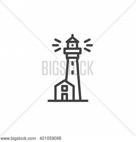 Lighthouse Tower Line Icon. Linear Style Sign For Mobile Concept And Web Design. Beacon, Lighthouse