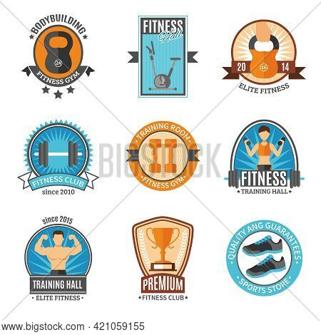 Fitness Club And Gym Hall Bodybuilding Elite Sports Store Color Flat Style Badges Set Isolated Vecto