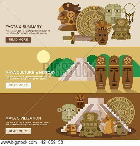 Maya Horizontal Banner Set With Indian Civilization Elements Isolated Vector Illustration