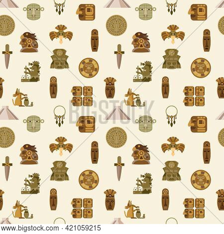 Maya Seamless Pattern With Flat Indian Mythology Symbols Vector Illustration