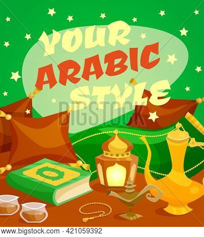 Arabic Culture Concept With Middle East Traditional Symbols Cartoon Set Vector Illustration
