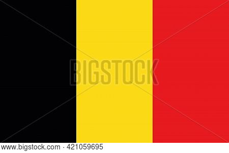The National Flag Of The European Country Belgium. Belgian Flag. Belgian State Symbol. National Holi