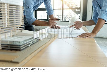 Architect Or Engineer Working On Table Use Drawing Tool