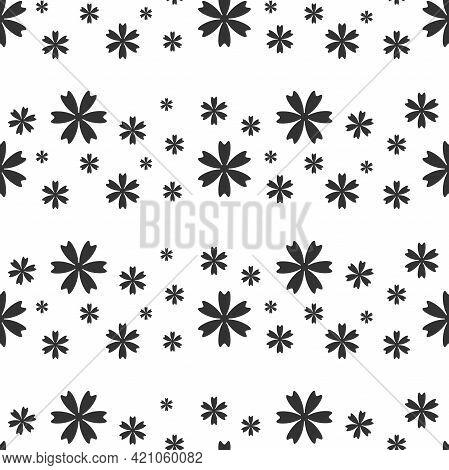Seamless Pattern With Cornflower, Blue-bonnet, Bluet Black Flowers. Flat Blossoms On White Backgroun