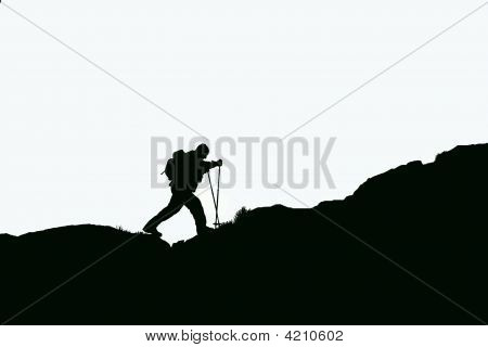 Silhouette Of A Mountaineer