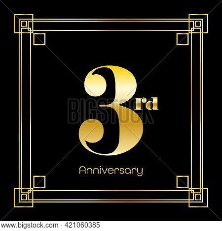 Number Three Logo Design With Square Ornament, Luxury Golden Design, Anniversary Concept, Vector Ill