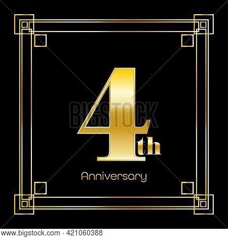 Number Four Logo Design With Square Ornament, Luxury Golden Design, Anniversary Concept, Vector Illu