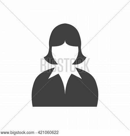 Woman Head Icon Silhouette. Female Avatar Profile Sign, Face Silhouette Stock Vector