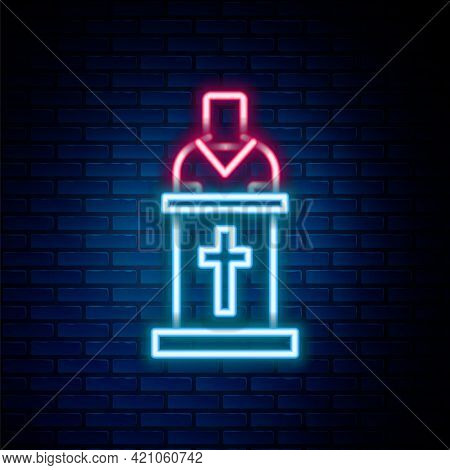Glowing Neon Line Church Pastor Preaching Icon Isolated On Brick Wall Background. Colorful Outline C