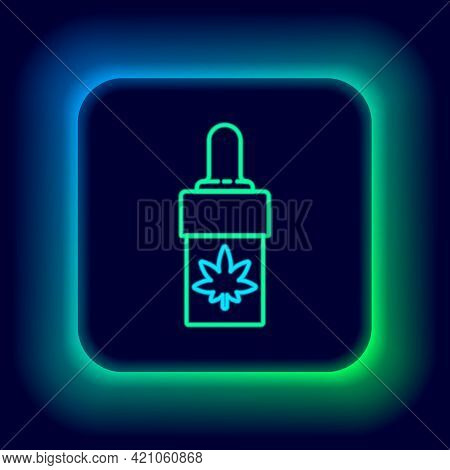 Glowing Neon Line Medical Marijuana Or Cannabis Leaf Olive Oil Drop Icon Isolated On Black Backgroun