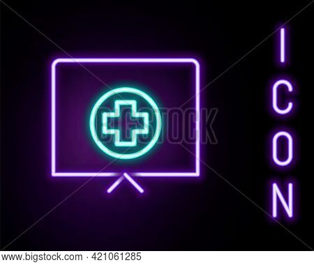 Glowing Neon Line Nurse Hat With Cross Icon Isolated On Black Background. Medical Nurse Cap Sign. Co
