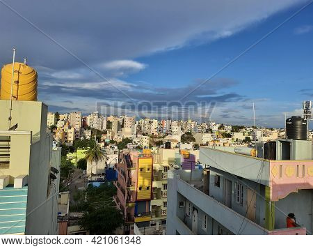 Closeup Of Beautiful Heaven Sky With Cityscape And Downtown View Of Laggere Area At Bengaluru In A M