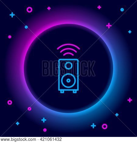 Glowing Neon Line Smart Stereo Speaker System Icon Isolated On Black Background. Sound System Speake