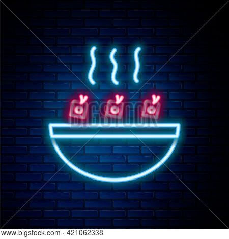 Glowing Neon Line Soup With Shrimps Icon Isolated On Brick Wall Background. Tom Yum Kung Soup. Color