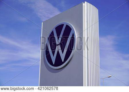 Bordeaux , Aquitaine France - 05 14 2021 : Volkswagen Brand Logo Car Shop Sign Vw Front Store Dealer