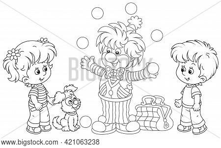 Friendly Smiling Circus Clown Showing Trick And Juggling With Balls For Little Kids And Their Small