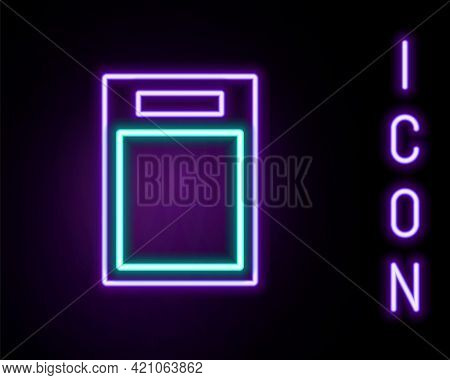 Glowing Neon Line Cutting Board Icon Isolated On Black Background. Chopping Board Symbol. Colorful O