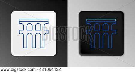Line Aqueduct Of Segovia, Spain Icon Isolated On Grey Background. Roman Aqueduct Building. National