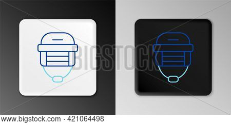 Line Hockey Helmet Icon Isolated On Grey Background. Colorful Outline Concept. Vector
