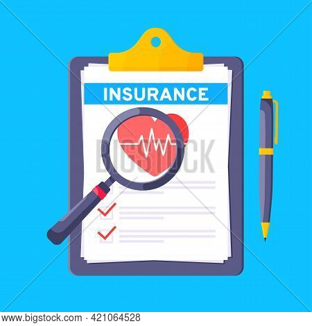 Clipboard With Medical Insurance Claim Form On It, Paper Sheets, Pen Flat Style Design Vector Illust
