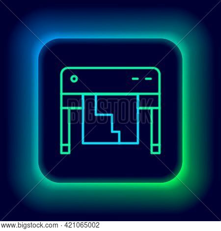 Glowing Neon Line Plotter Icon Isolated On Black Background. Large Format Multifunction Printer. Pol