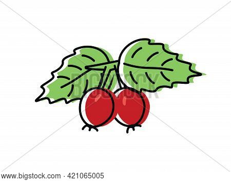 Rosehip Berries. Natural Berries. Vector Illustration In Flat Style