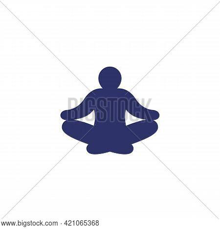 Meditation, Meditating Man Icon On White, Vector