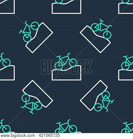Line Mountain Bicycle Icon Isolated Seamless Pattern On Black Background. Bike Race. Extreme Sport.