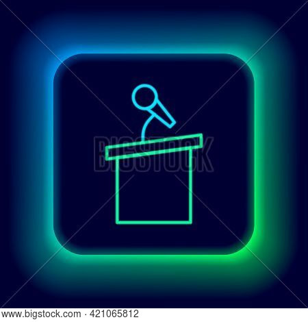 Glowing Neon Line Stage Stand Or Debate Podium Rostrum Icon Isolated On Black Background. Conference