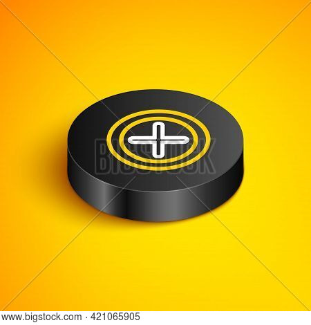 Isometric Line X Mark, Cross In Circle Icon Isolated On Yellow Background. Check Cross Mark Icon. Bl