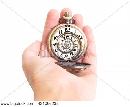 Antique Pocket Watch In A Hand Isolated On White. Droste Effect, Time Spiral Concept.