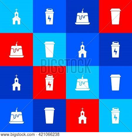 Set Church Building, Fitness Shaker, Pudding Custard And Coffee Cup Icon. Vector