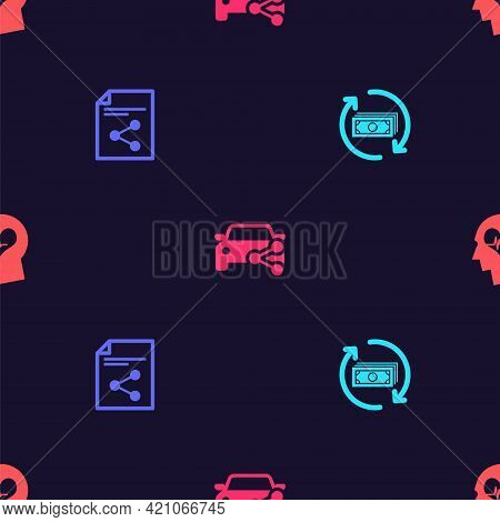 Set Refund Money, Share File, Car Sharing And Head With Heartbeat On Seamless Pattern. Vector