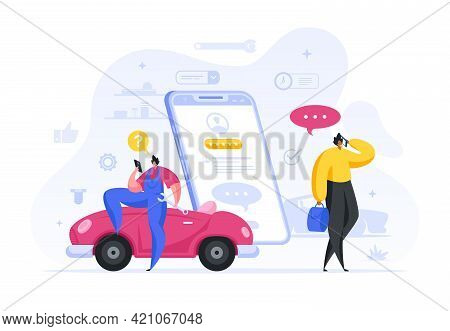 Colorful Vector Illustration Of Cartoon Multiethnic Male Technician And Client Discussing Modern Car
