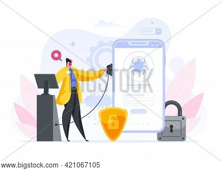 Colorful Vector Illustration Of Cartoon Male Using Modern Equipment To Scan Smartphone For Malware W